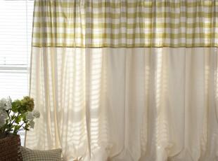 【3米家】简单生活/加厚草绿格子窗帘定制,窗帘,
