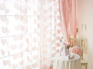 「朱朱家园」在韩国定做*明星窗帘-甜蜜我心粉色纱帘ST885,窗帘,