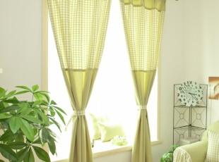 韩式田园 窗帘布艺遮光窗帘布艺 成品卧室客厅 粉绿,窗帘,