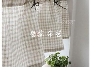日系 森林系 素坯亚麻格 半帘 窗帘 厨房 门帘 咖啡帘 成品 定做,窗帘,