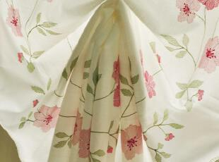 藤蔓蔷薇花开 竹节麻厚布款提拉帘升降帘 罗马帘气球帘窗帘,窗帘,