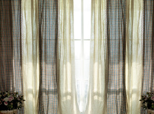【3米家】乡村风格窗帘定做/美式窗帘定制/格子布艺定做/地中海,窗帘,