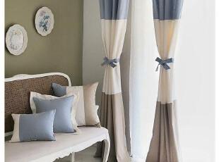 地中海简欧乡村 色织棉布 蓝+白+咖 做旧色调 拼色窗帘定做-,窗帘,