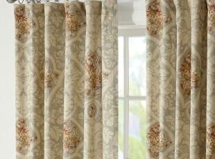 【纽约下城公园】 英国乡村卡米拉花束棉麻窗帘组 127x213厘米/片,窗帘,