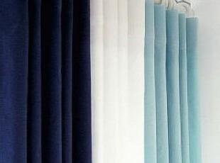 在韩国定做 地中海蓝色组合窗帘/客厅遮光窗帘 可定做,窗帘,