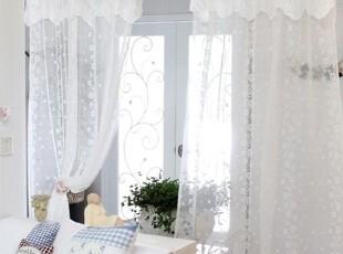 【Asa room】韩国进口代购 白色小花朵纱帘透光成品卧室窗帘k453,窗帘,