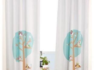 『韩国进口家居』A621 儿童房可爱猫头鹰大树窗帘,窗帘,