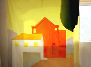2012年新款现代时尚色彩构成地中海风格高档挂帘窗帘,窗帘,