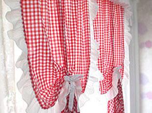 波波布落 韩国宜家风田园乡村红格子布艺窗帘成品全棉定做定制,窗帘,