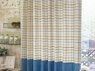韩国进口代购 比利时格子海洋蓝混搭窗帘/客厅窗帘 可定做,窗帘,