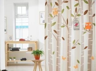 【Asa room】韩国窗帘进口成品树叶米色卧室客厅半遮光窗帘k458-b,窗帘,