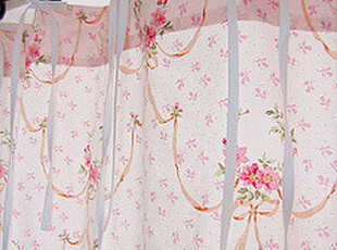 『韩国网站代购』温婉的复古 丝带蝴蝶结玫瑰花环裙摆窗帘|定做款,窗帘,