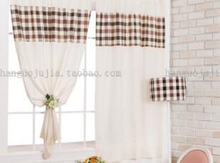 【Asa 30%SALE】韩国代购窗帘进口 特价格子纹半遮光小窗帘 k041,窗帘,