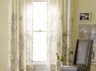 简单的奢华美国代购包邮 禅意欧式风水墨竹影棉麻混纺装饰窗帘,窗帘,