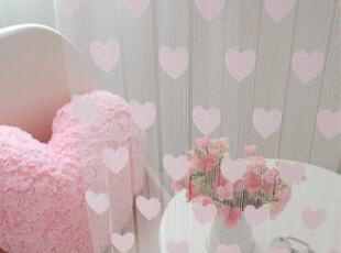 『韩国进口家居』T362 甜蜜爱心装饰窗帘时尚线帘 两种尺寸 粉色,窗帘,