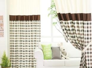 【Asa room】韩国窗帘进口 棕色格子纹半遮光成品卧室长款k395-br,窗帘,
