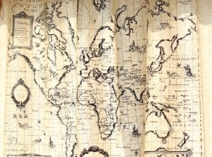 世界地图 zakka 杂货风 背心式 棉麻半帘/窗帘/玄关/挂画,窗帘,