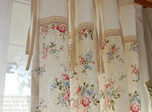 『韩国网站代购』春日乡村的花园 棉蕾丝边拼接裙摆窗帘|定做款,窗帘,