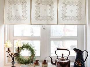 韩国进口代购 超美精致蕾丝花边亚麻吊带半帘/咖啡帘 门帘 小窗帘,窗帘,