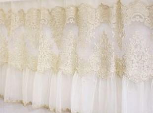 韩国进口代购 超精致浪漫奢华金线蕾丝半帘/咖啡帘 门帘 米黄色,窗帘,