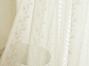 【韩国定做窗帘】 n1297 自然气息树叶刺绣天然亚麻窗帘,窗帘,