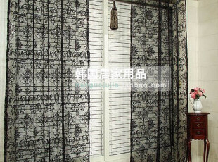 【Asa room】韩国进口代购窗帘 高档黑色蕾丝窗帘客厅卧室 k091-b,窗帘,