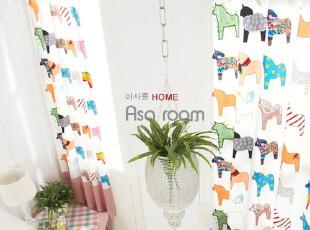 【Asa room】韩国代购窗帘进口 粉色可爱小马儿童卧室成品 k332-p,窗帘,