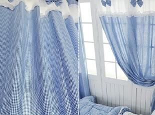 【Asa room】韩国进口窗帘 简约田园蓝色格子纹可定做窗帘 c714-6,窗帘,