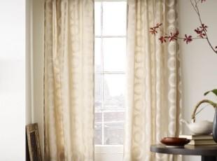 简单的奢华美国代购包邮 浪漫雅致欧式象牙白年轮花卉棉麻窗帘,窗帘,