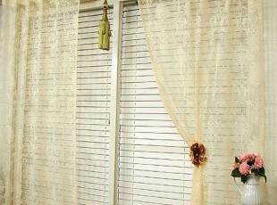 【Asa room】韩国代购窗帘进口 米白色蕾丝客厅可定做窗帘 k091-i,窗帘,