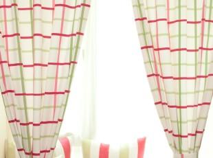 纯棉窗帘/布艺/遮光窗帘/布艺 成品卧室客厅Rebecca格子,窗帘,