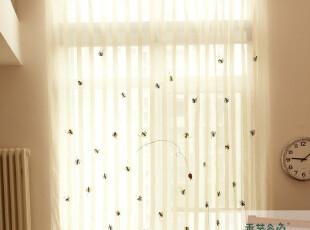 条纹小甲虫纱帘 田园窗帘 隔断布帘 卡通儿童房A03 成品布艺窗纱,窗帘,