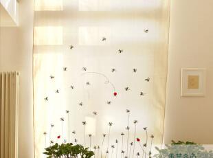 棉麻鲁绣田园风格成品卡通窗帘 帘子A68 儿童房布艺外贸刺绣布帘,窗帘,