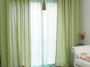 [暑假大促]伊佳仁 绿色仿拉丝亚麻窗帘 餐厅窗帘 现代中式 YJ422,窗帘,