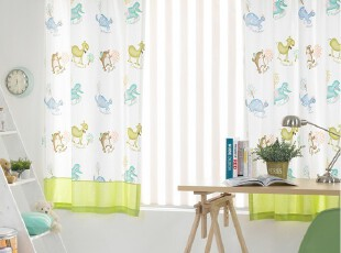 【韩国进口家居】X878 卡通小动物主题儿童房清新窗帘,窗帘,