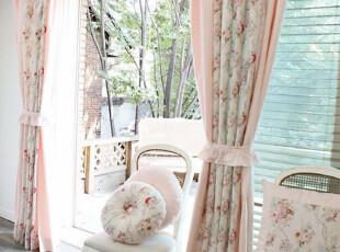 韩国进口卧室窗帘 高档精致田园粉色花朵卧室窗帘客厅窗帘 可定做,窗帘,