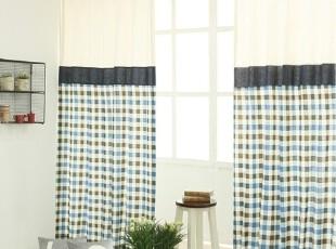 【Asa room】韩国窗帘进口 蓝色格子纹长款半遮光成品卧室 k395-b,窗帘,