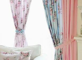 在韩国定做 甜美粉嫩田园花朵组合窗帘/田园混搭客厅 卧室窗帘,窗帘,
