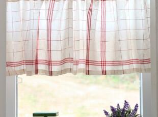 「echo house 」♥韩国家居直送♥ 格子复古老窗帘半帘 咖啡帘,窗帘,
