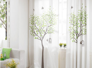 韩国窗帘 进口成品绿色相思树卧室客厅遮光窗帘 客厅窗帘C009,窗帘,