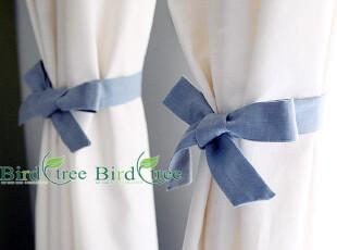 现代地中海韩式混搭风格3色拼接窗帘定做---暗香蓝色款,窗帘,