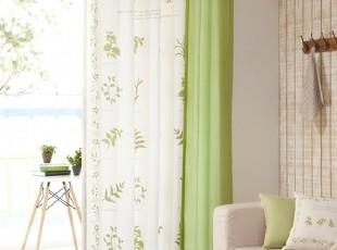 【Asa room】韩国窗帘代购进口 田园绿色叶子成品卧室半遮光 k422,窗帘,