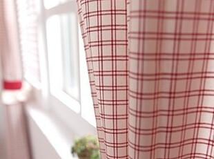 韩国进口代购 红色格子客厅窗帘/ 卧室窗帘 可定做,窗帘,