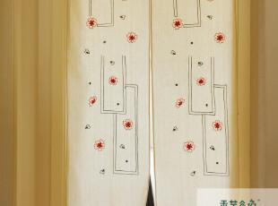 A32【香芋谷色】鲁绣日式布艺门帘 隔断 田园风水帘 手工刺绣外贸,窗帘,
