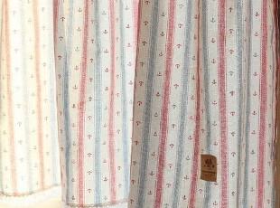 蓝红条纹 海锚 地中海风格 韩国棉麻 半帘咖啡帘窗帘,窗帘,