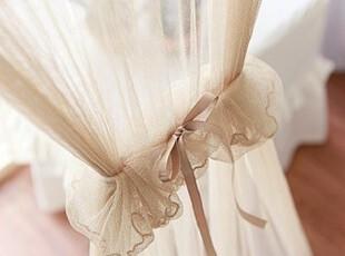 韩国正品代购 浪漫复古蕾丝花边窗帘/门帘 浪漫纱帘 米黄色,窗帘,