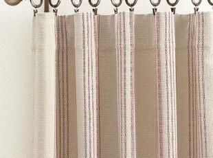 简单的奢华  法式优雅条纹纯棉米白底色垂直窗帘,窗帘,