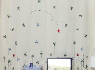 亚棉麻布家居窗帘 日式成品外贸尾单 卧室儿童房飘窗半遮光阳台帘,窗帘,