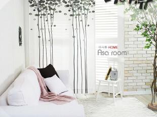 【Asa room】韩国窗帘进口 白色小树成品客厅卧室半遮光窗帘 k321,窗帘,