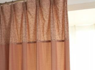 美式田园/乡村风格 窗帘/布艺/遮光窗帘/布艺成品客厅卧室灰红色,窗帘,